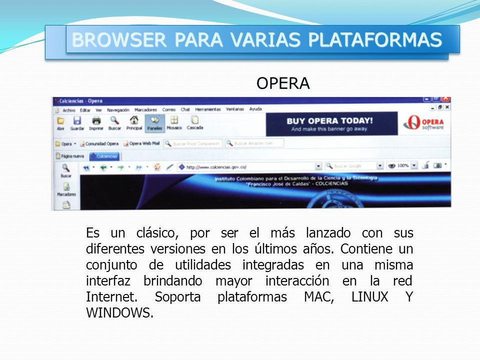 OPERAOPERA Es un clásico, por ser el más lanzado con sus diferentes versiones en los últimos años. Contiene un conjunto de utilidades integradas en un