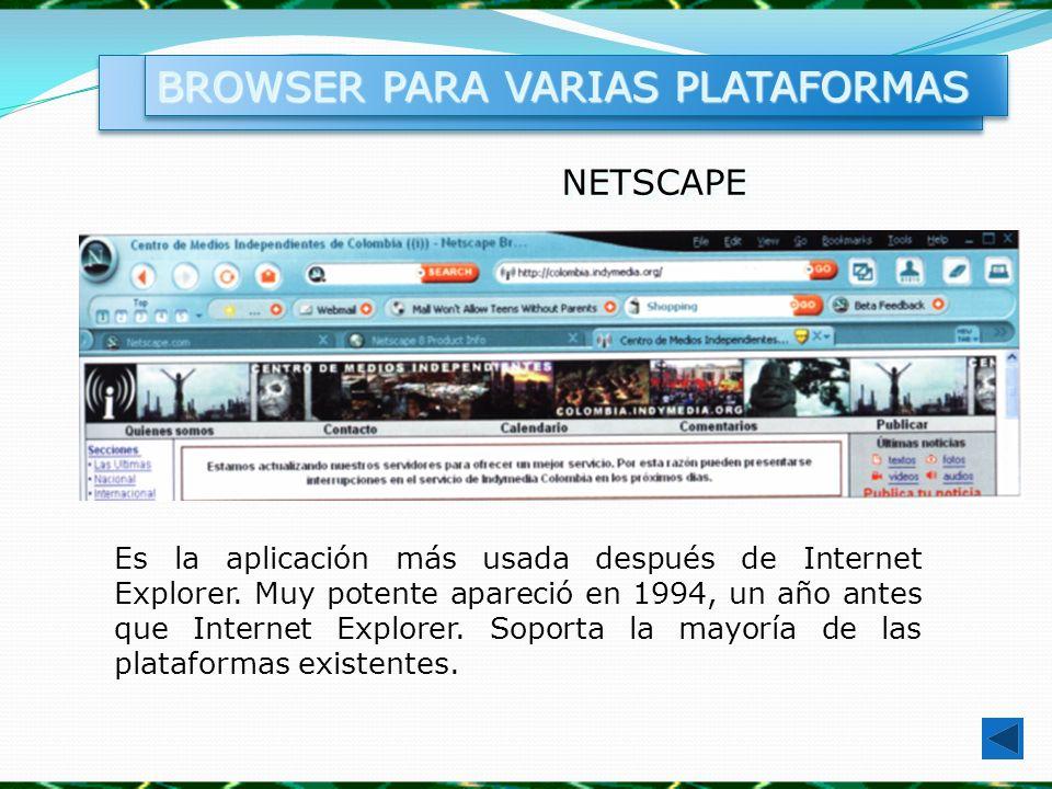 NETSCAPENETSCAPE Es la aplicación más usada después de Internet Explorer. Muy potente apareció en 1994, un año antes que Internet Explorer. Soporta la