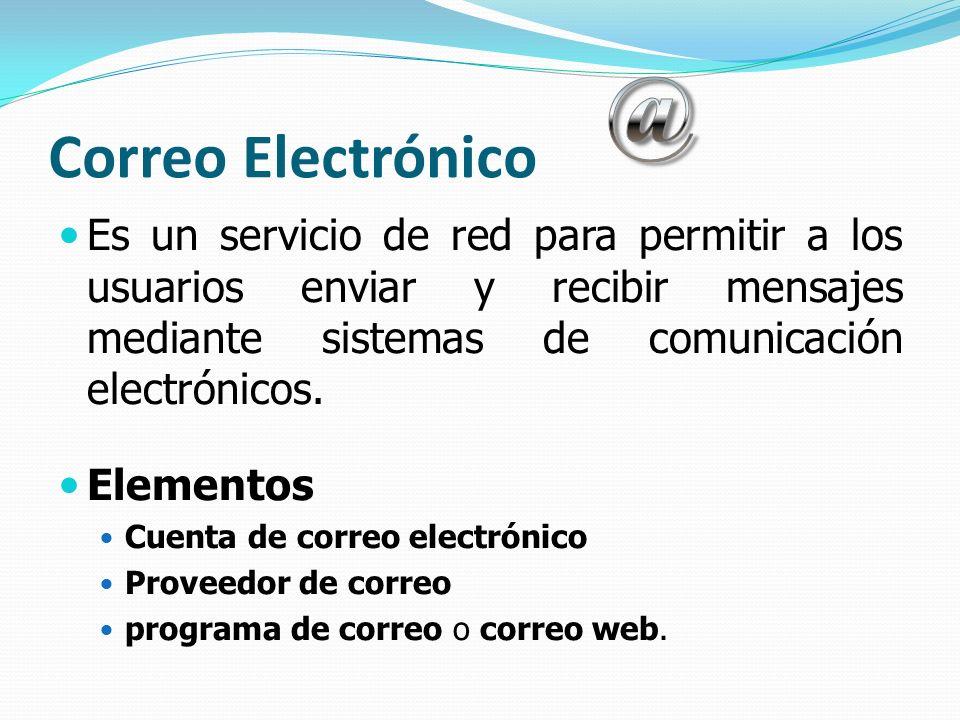 Correo Electrónico Es un servicio de red para permitir a los usuarios enviar y recibir mensajes mediante sistemas de comunicación electrónicos. Elemen