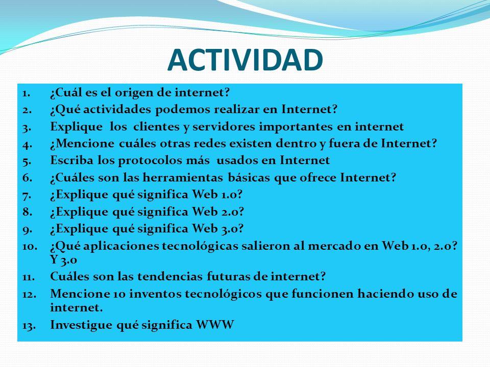 ACTIVIDAD 1. ¿Cuál es el origen de internet? 2. ¿Qué actividades podemos realizar en Internet? 3. Explique los clientes y servidores importantes en in