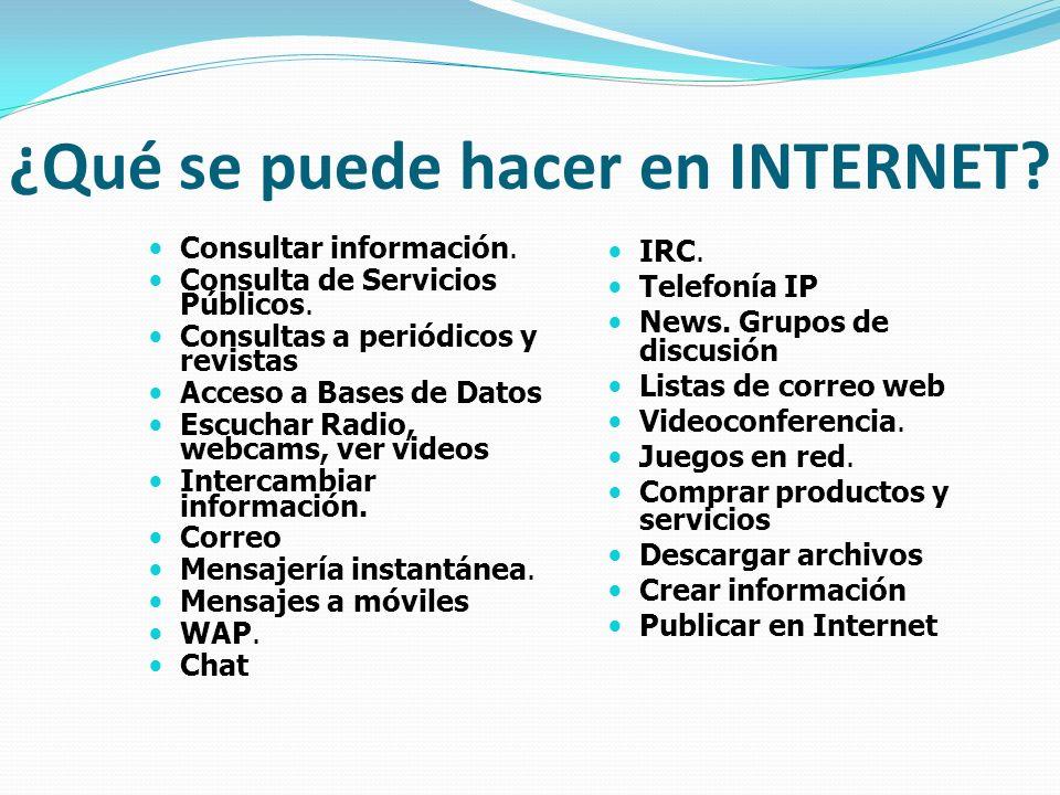 ¿Qué se puede hacer en INTERNET? Consultar información. Consulta de Servicios Públicos. Consultas a periódicos y revistas Acceso a Bases de Datos Escu