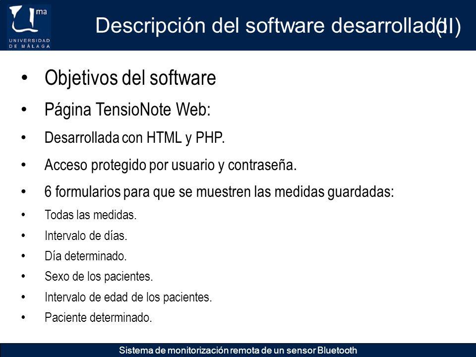 Descripción del software desarrollado Sistema de monitorización remota de un sensor Bluetooth Objetivos del software Página TensioNote Web: Desarrolla