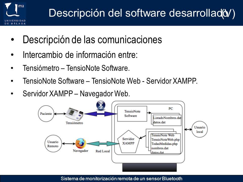 Descripción del software desarrollado Sistema de monitorización remota de un sensor Bluetooth Descripción de las comunicaciones Intercambio de informa