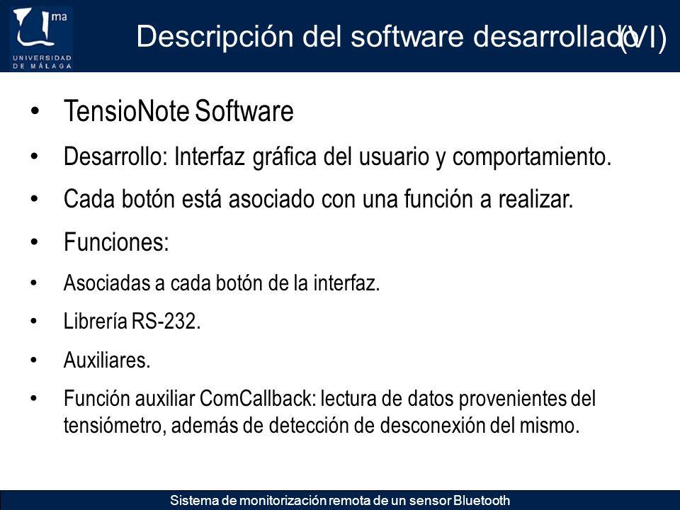 Descripción del software desarrollado Sistema de monitorización remota de un sensor Bluetooth TensioNote Software Desarrollo: Interfaz gráfica del usu
