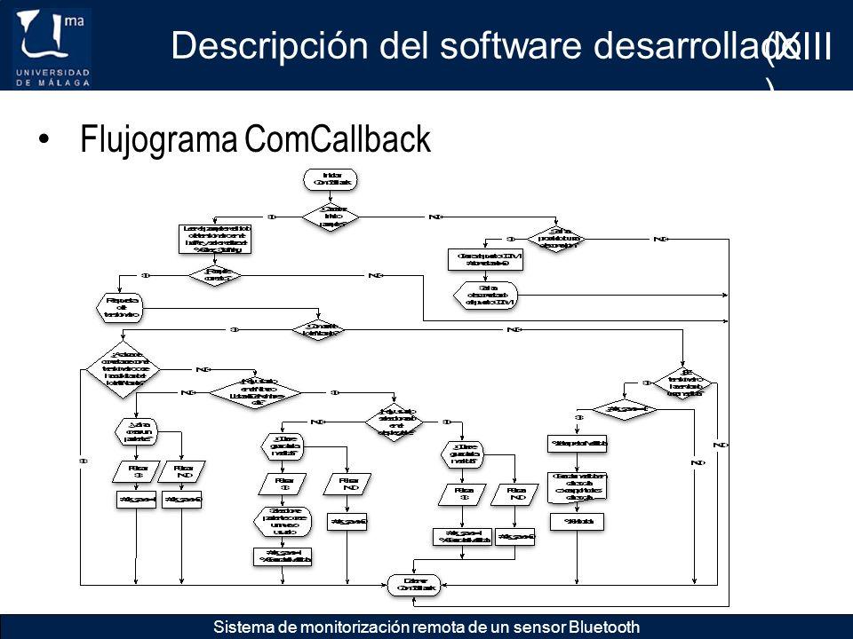 Descripción del software desarrollado Sistema de monitorización remota de un sensor Bluetooth Flujograma ComCallback (XIII )