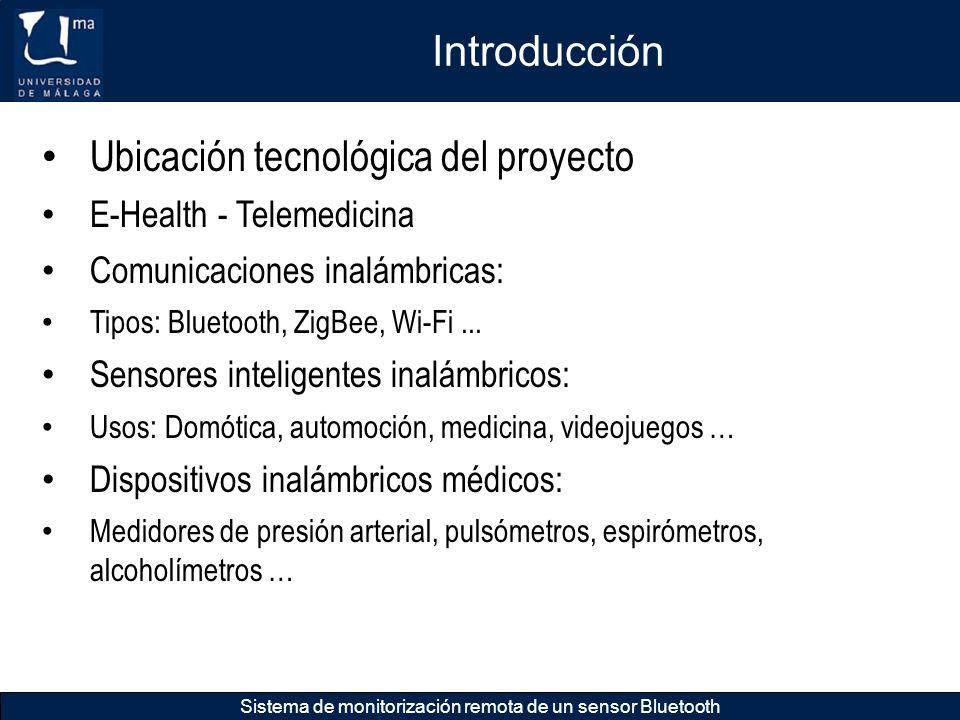 Introducción Sistema de monitorización remota de un sensor Bluetooth Ubicación tecnológica del proyecto Sistema de gestión de dispositivos médicos inalámbricos: Red de monitorización de pacientes, bases de datos.