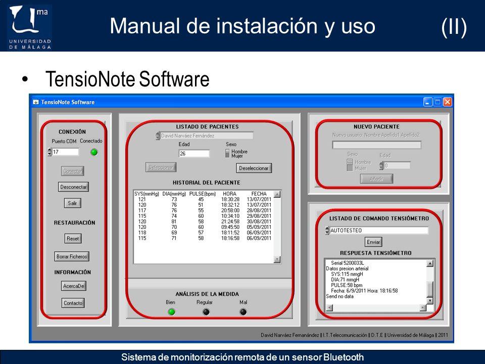 Manual de instalación y uso Sistema de monitorización remota de un sensor Bluetooth TensioNote Software (II)