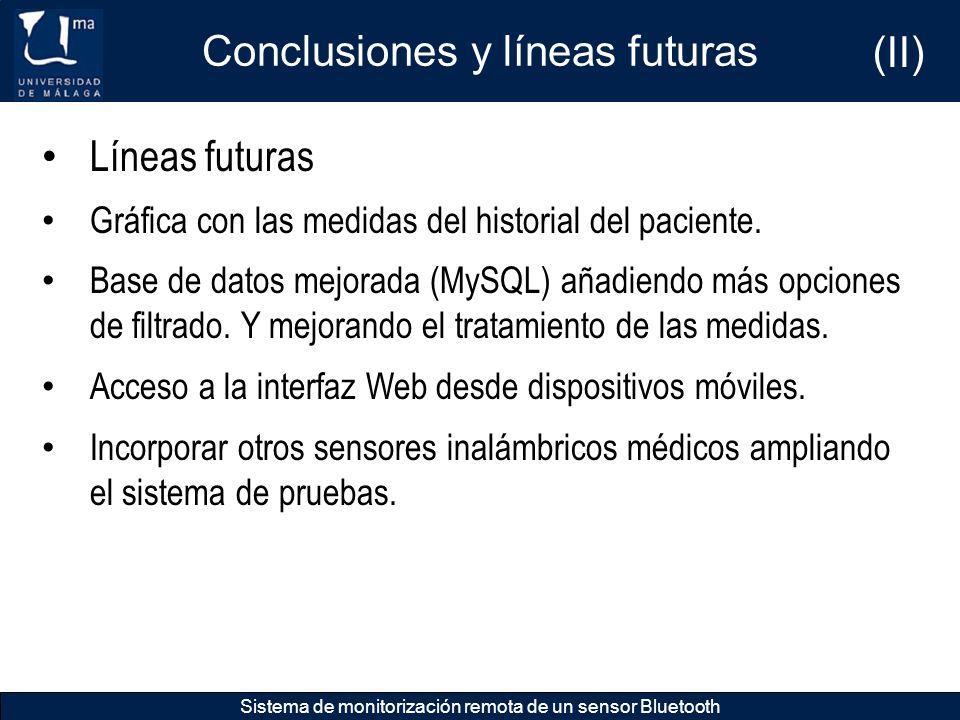 Conclusiones y líneas futuras Sistema de monitorización remota de un sensor Bluetooth Líneas futuras Gráfica con las medidas del historial del pacient