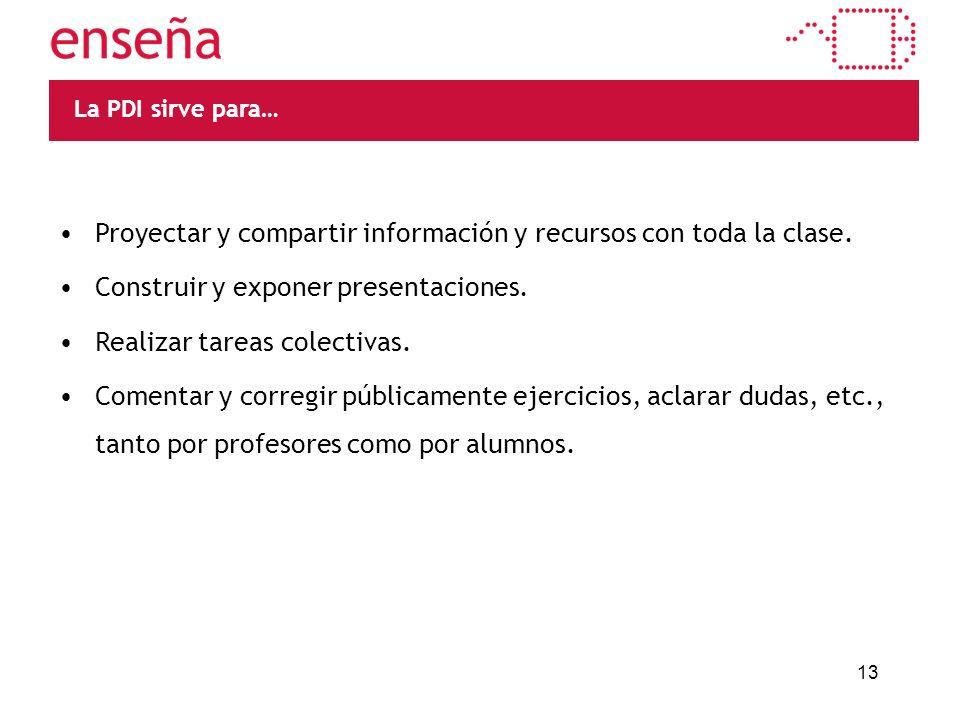 13 La PDI sirve para… Proyectar y compartir información y recursos con toda la clase.