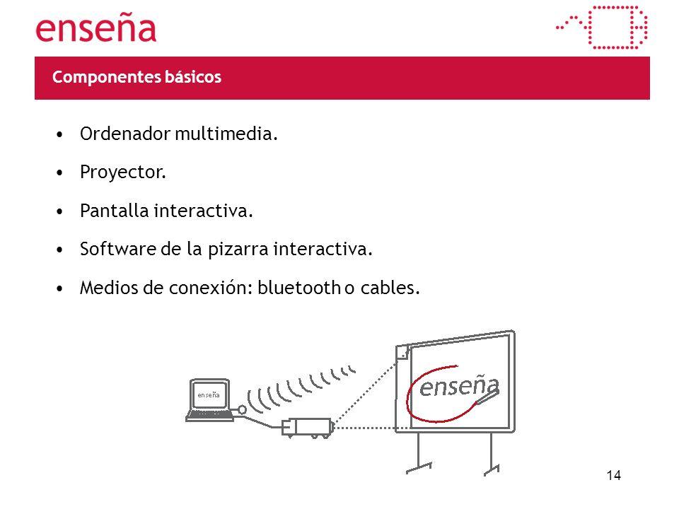 14 Componentes básicos Ordenador multimedia. Proyector. Pantalla interactiva. Software de la pizarra interactiva. Medios de conexión: bluetooth o cabl
