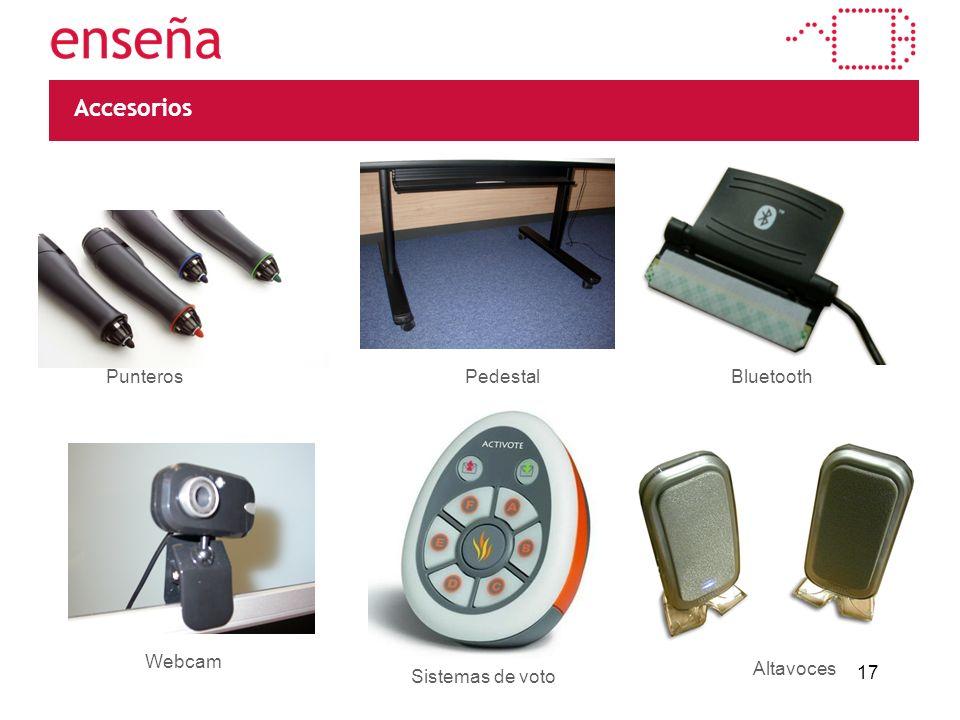 17 Accesorios PunterosPedestalBluetooth Webcam Sistemas de voto Altavoces