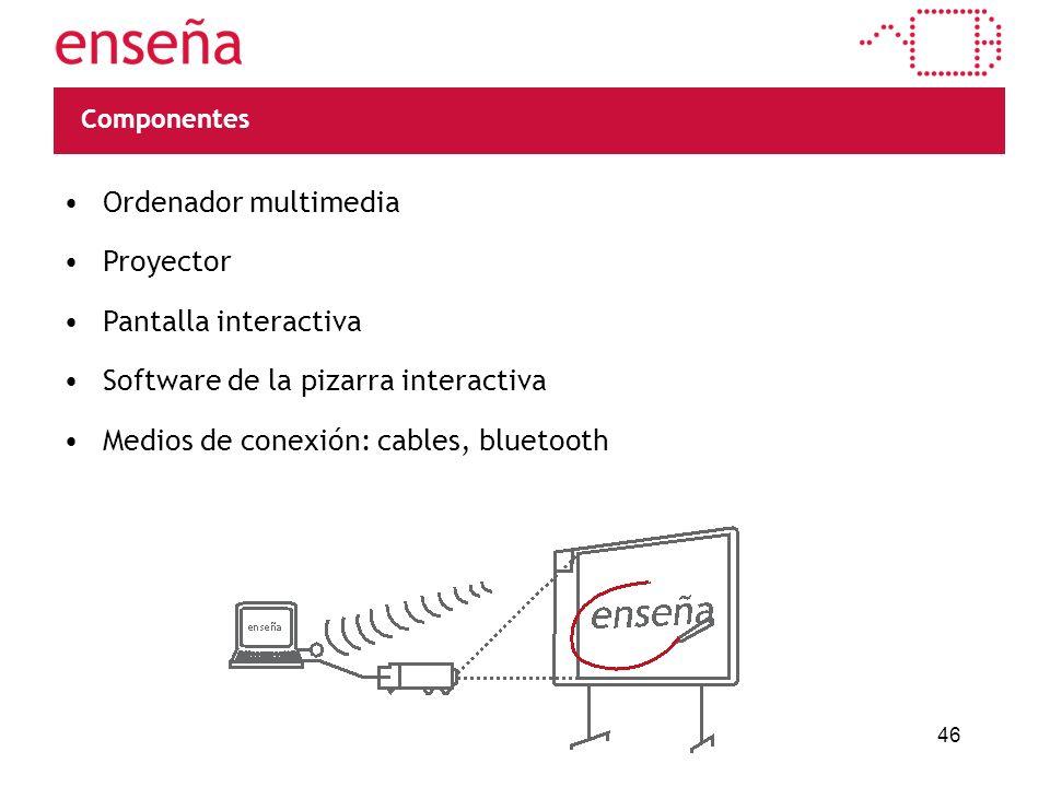 46 Componentes Ordenador multimedia Proyector Pantalla interactiva Software de la pizarra interactiva Medios de conexión: cables, bluetooth