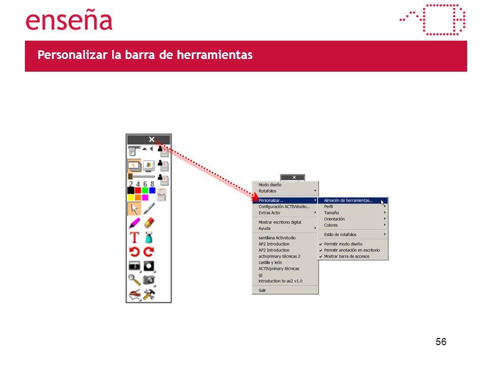 56 Personalizar la barra de herramientas