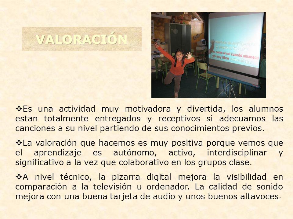 Es una actividad muy motivadora y divertida, los alumnos estan totalmente entregados y receptivos si adecuamos las canciones a su nivel partiendo de sus conocimientos previos.
