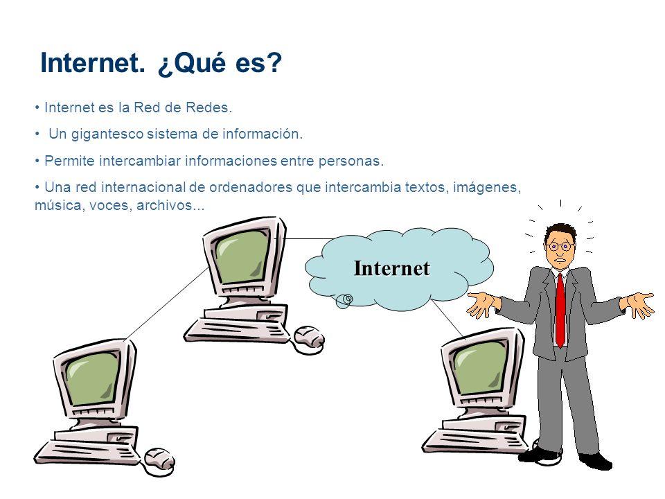 Internet. ¿Qué es? Internet es la Red de Redes. Un gigantesco sistema de información. Permite intercambiar informaciones entre personas. Una red inter