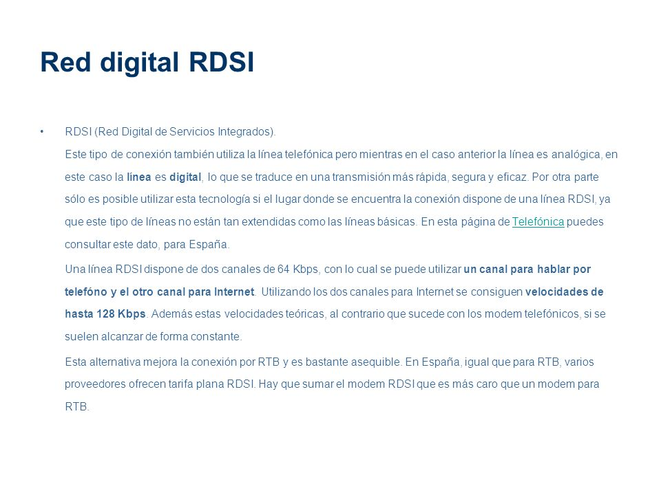 Red digital RDSI RDSI (Red Digital de Servicios Integrados).