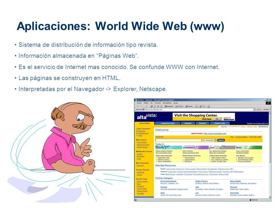 Aplicaciones: World Wide Web (www) Sistema de distribución de información tipo revista. Información almacenada en Páginas Web. Es el servicio de Inter
