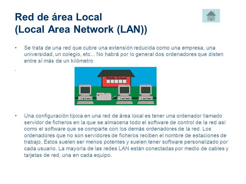 Red de área Local (Local Area Network (LAN)) Se trata de una red que cubre una extensión reducida como una empresa, una universidad, un colegio, etc..