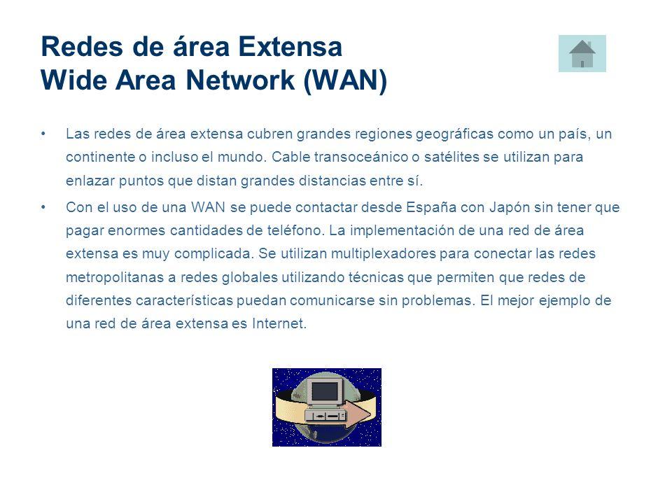 Redes de área Extensa Wide Area Network (WAN) Las redes de área extensa cubren grandes regiones geográficas como un país, un continente o incluso el m