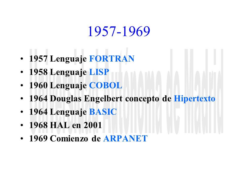 1957-1969 1957 Lenguaje FORTRAN 1958 Lenguaje LISP 1960 Lenguaje COBOL 1964 Douglas Engelbert concepto de Hipertexto 1964 Lenguaje BASIC 1968 HAL en 2