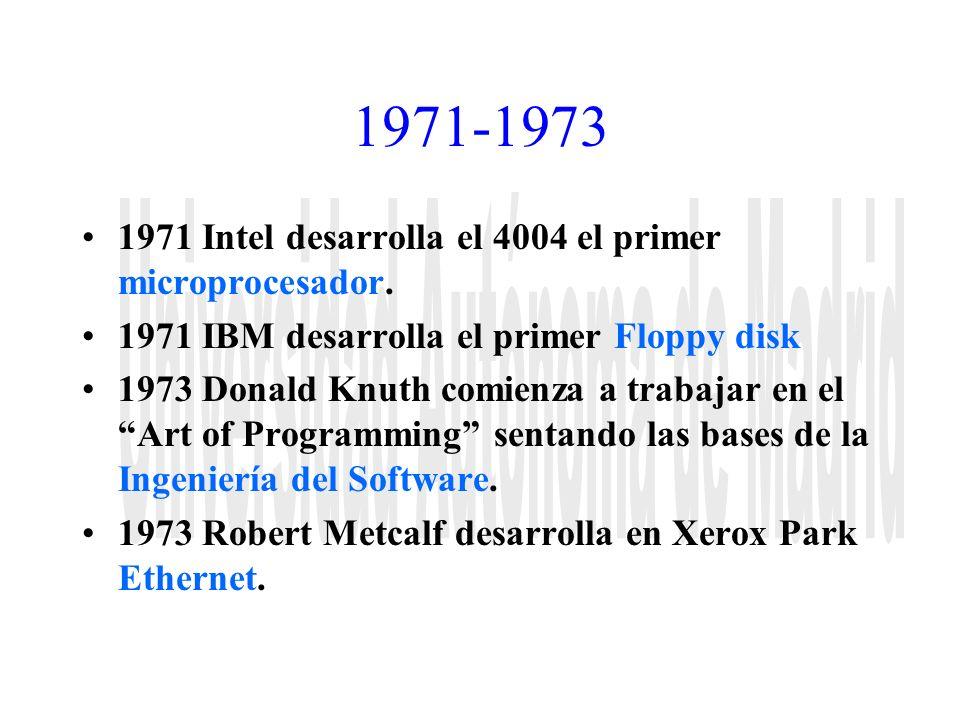1971-1973 1971 Intel desarrolla el 4004 el primer microprocesador. 1971 IBM desarrolla el primer Floppy disk 1973 Donald Knuth comienza a trabajar en