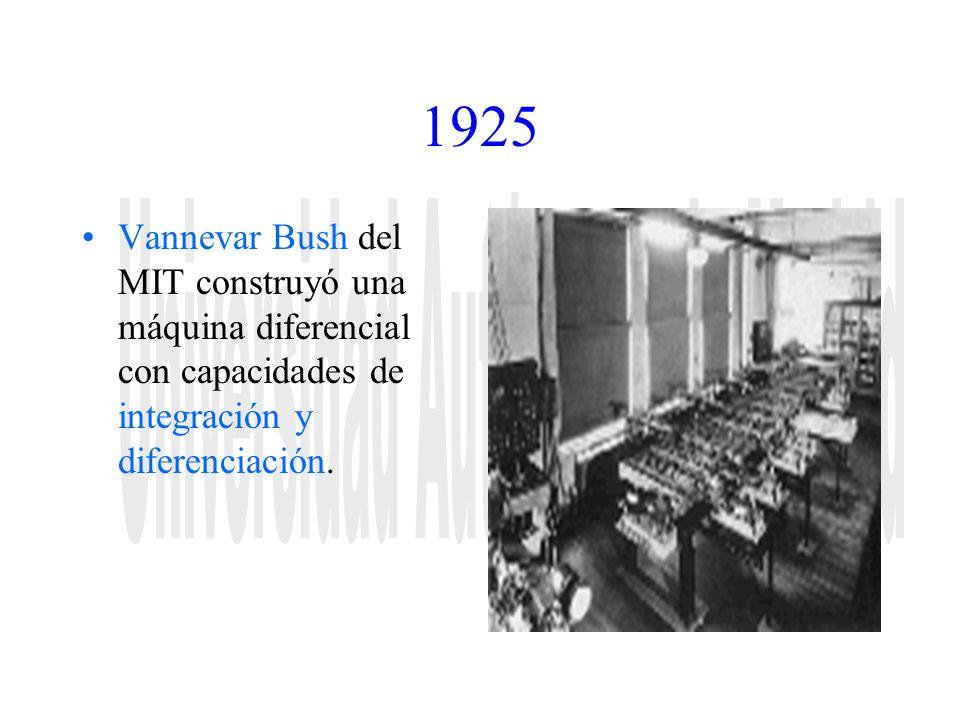 1925 Vannevar Bush del MIT construyó una máquina diferencial con capacidades de integración y diferenciación.