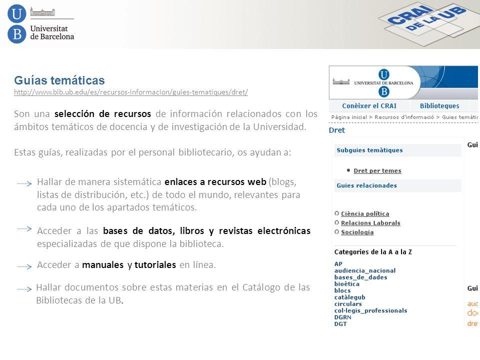 Guías temáticas Son una selección de recursos de información relacionados con los ámbitos temáticos de docencia y de investigación de la Universidad.
