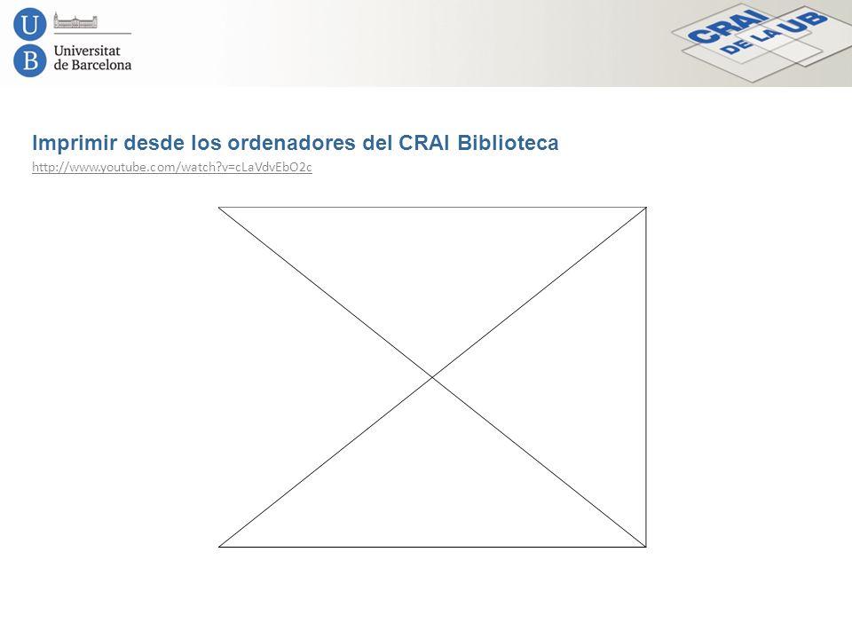 Imprimir desde los ordenadores del CRAI Biblioteca http://www.youtube.com/watch?v=cLaVdvEbO2c