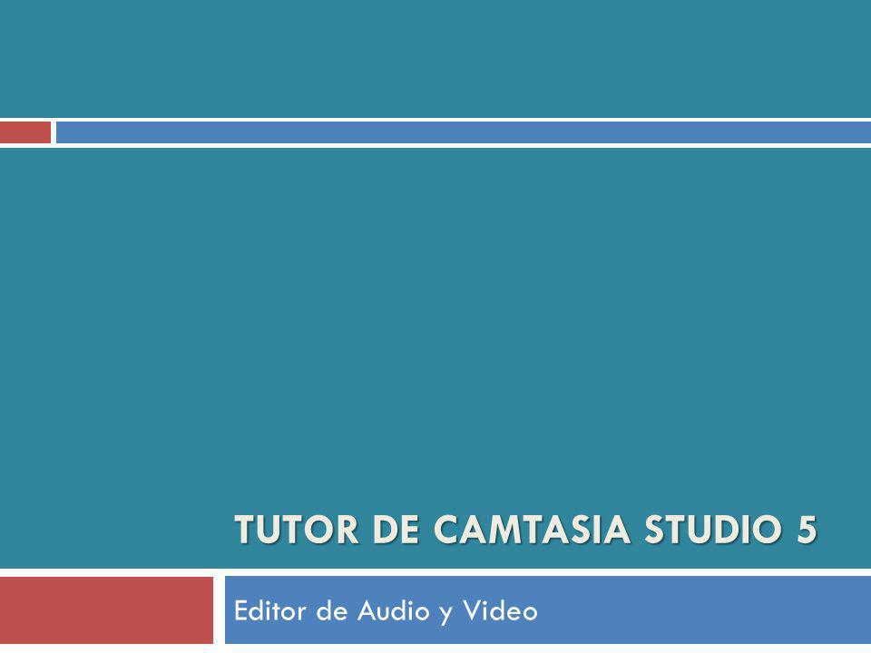 TUTOR DE CAMTASIA STUDIO 5 Editor de Audio y Video