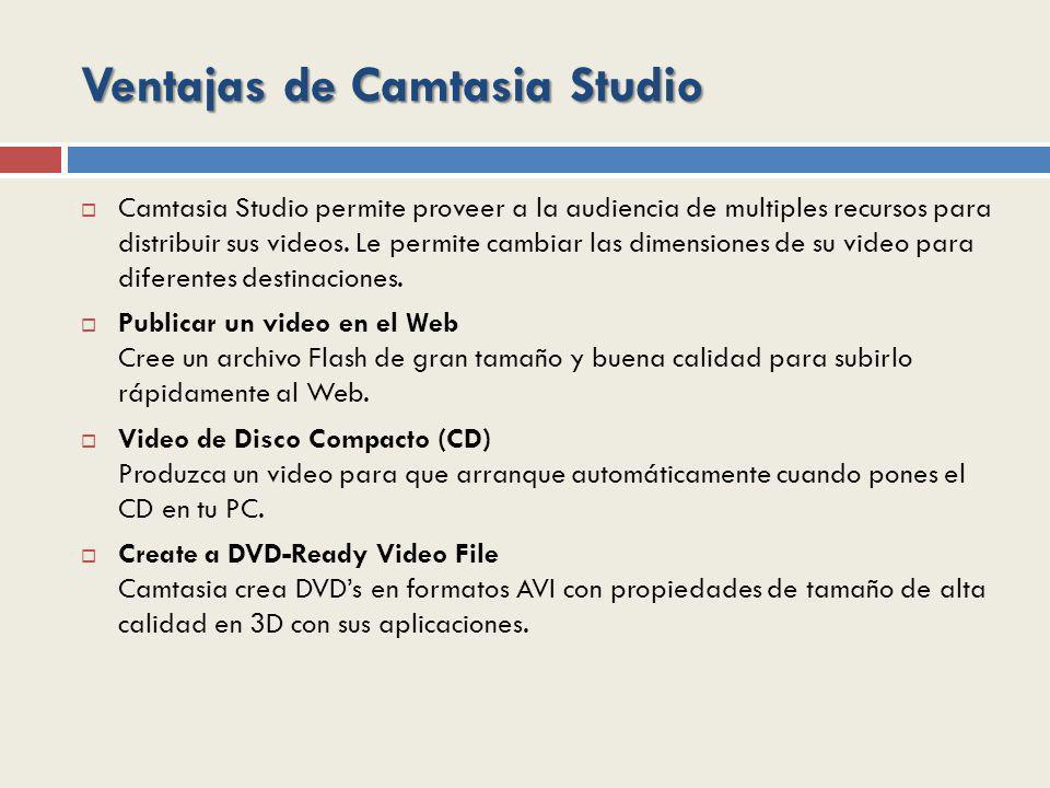 Ventajas de Camtasia Studio Camtasia Studio permite proveer a la audiencia de multiples recursos para distribuir sus videos. Le permite cambiar las di