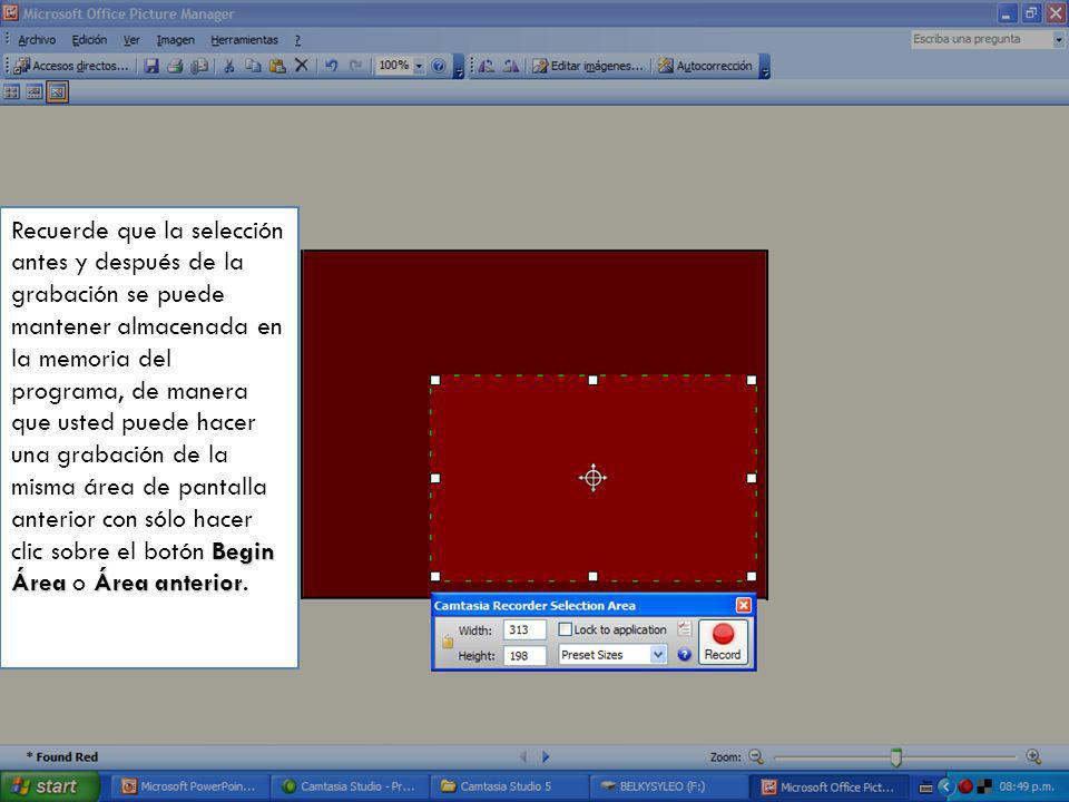 El cuadro de diálogo (Camtasia Recorder Selection Área), muestra en pulgadas y píxeles la altura y el ancho del cuadro punteado, además, con la cruz e