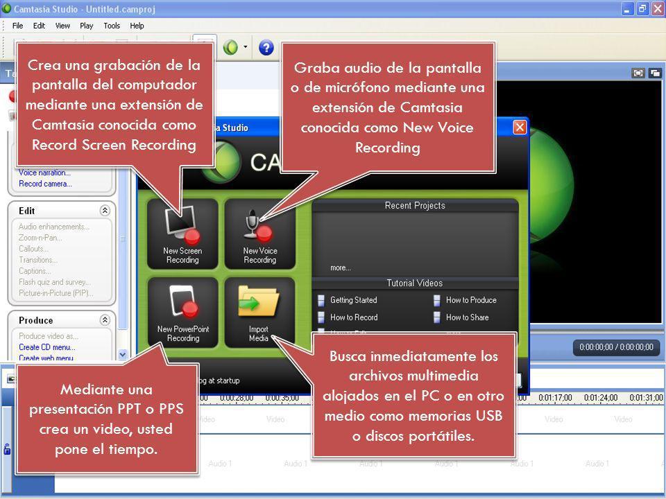 Crea una grabación de la pantalla del computador mediante una extensión de Camtasia conocida como Record Screen Recording Graba audio de la pantalla o