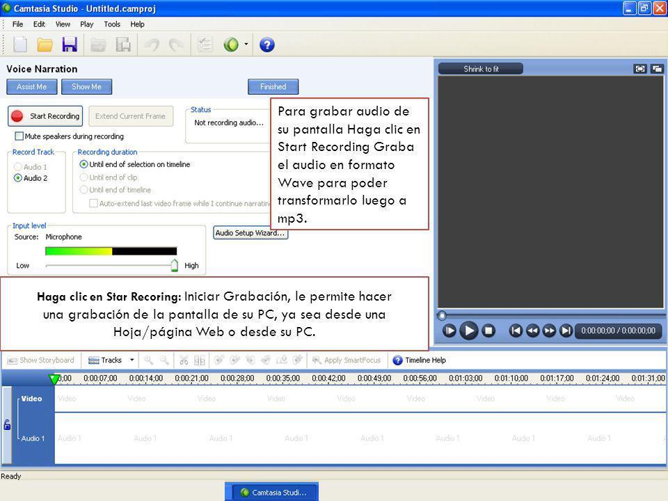 La presentación abre en modo de presentación y aparece un cuadro de diálogo, hacer Clic para iniciar la grabación.