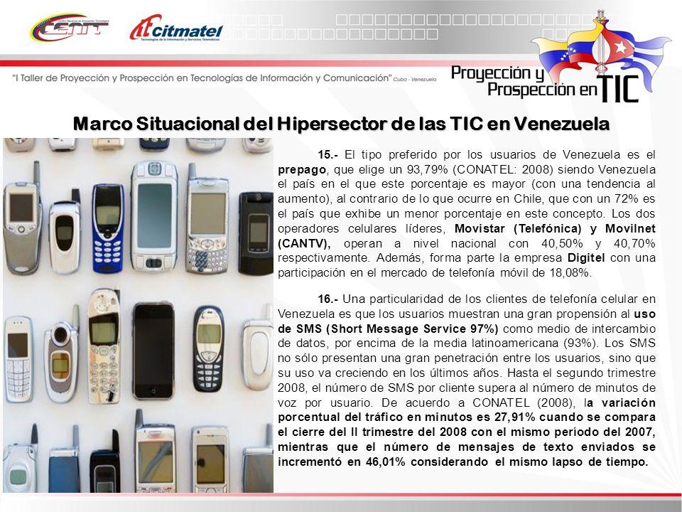15.- El tipo preferido por los usuarios de Venezuela es el prepago, que elige un 93,79% (CONATEL: 2008) siendo Venezuela el país en el que este porcentaje es mayor (con una tendencia al aumento), al contrario de lo que ocurre en Chile, que con un 72% es el país que exhibe un menor porcentaje en este concepto.