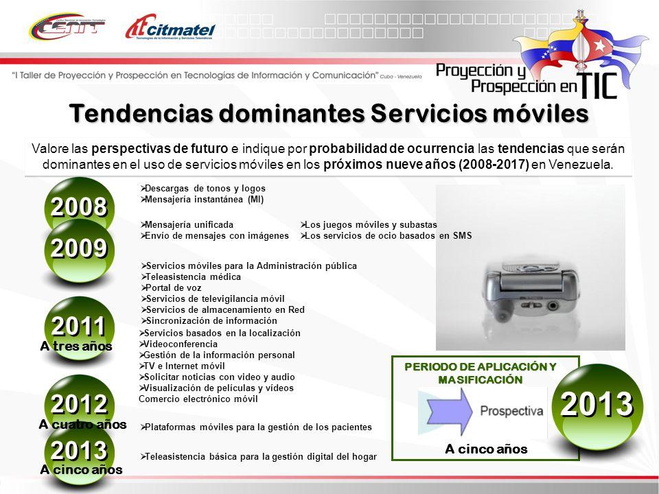 Valore las perspectivas de futuro e indique por probabilidad de ocurrencia las tendencias que serán dominantes en el uso de servicios móviles en los próximos nueve años (2008-2017) en Venezuela.