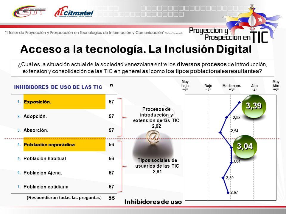 ¿Cuál es la situación actual de la sociedad venezolana entre los diversos procesos de introducción, extensión y consolidación de las TIC en general así como los tipos poblacionales resultantes.