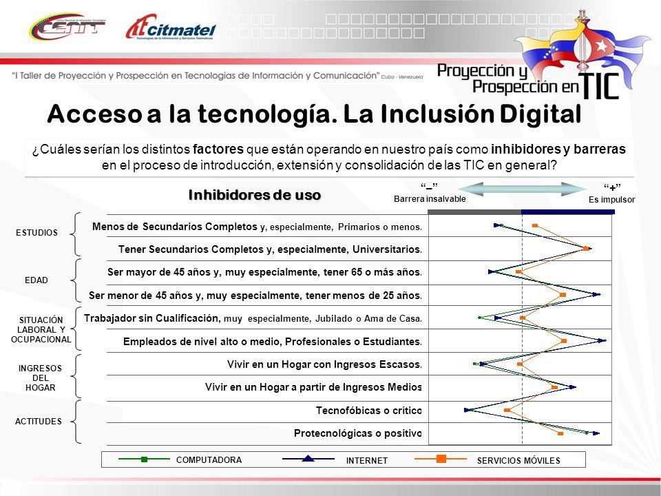 ¿Cuáles serían los distintos factores que están operando en nuestro país como inhibidores y barreras en el proceso de introducción, extensión y consolidación de las TIC en general.