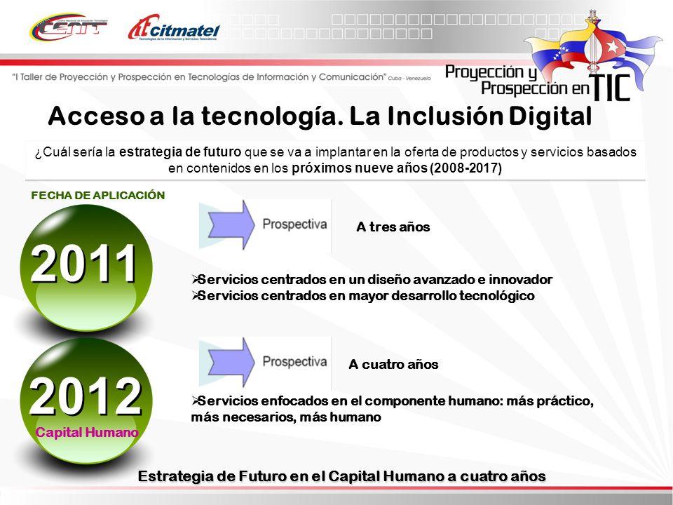 ¿Cuál sería la estrategia de futuro que se va a implantar en la oferta de productos y servicios basados en contenidos en los próximos nueve años (2008-2017) Servicios centrados en un diseño avanzado e innovador Servicios centrados en mayor desarrollo tecnológico Servicios enfocados en el componente humano: más práctico, más necesarios, más humano FECHA DE APLICACIÓN Estrategia de Futuro en el Capital Humano a cuatro años A cuatro años A tres años Acceso a la tecnología.