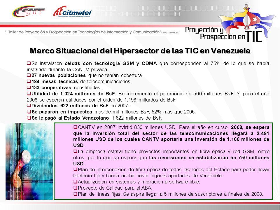 Marco Situacional del Hipersector de las TIC en Venezuela Se instalaron celdas con tecnología GSM y CDMA que corresponden al 75% de lo que se había instalado durante la CANTV privada.