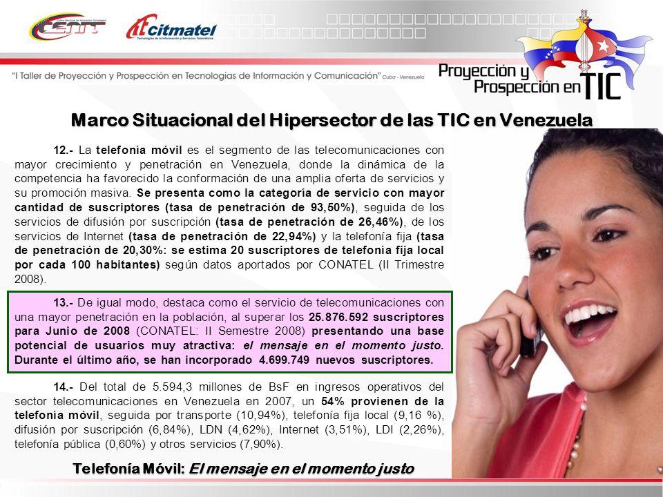 12.- La telefonía móvil es el segmento de las telecomunicaciones con mayor crecimiento y penetración en Venezuela, donde la dinámica de la competencia ha favorecido la conformación de una amplia oferta de servicios y su promoción masiva.