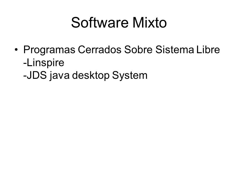 Software Mixto Programas Cerrados Sobre Sistema Libre -Linspire -JDS java desktop System