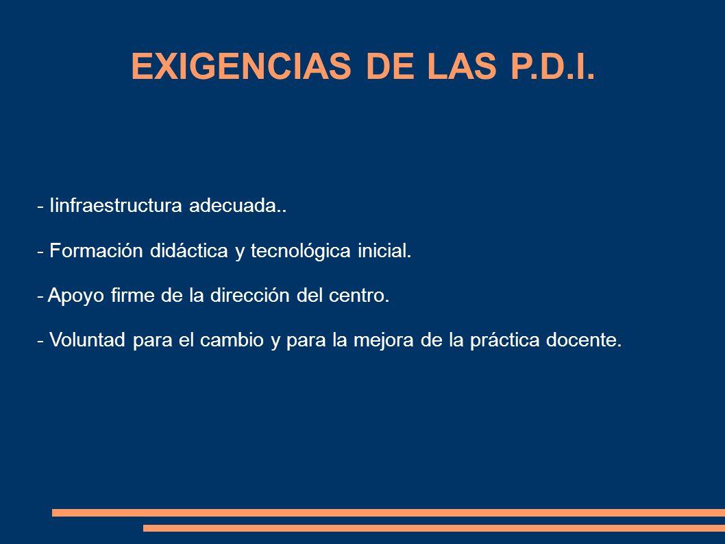 EXIGENCIAS DE LAS P.D.I. - Iinfraestructura adecuada.. - Formación didáctica y tecnológica inicial. - Apoyo firme de la dirección del centro. - Volunt