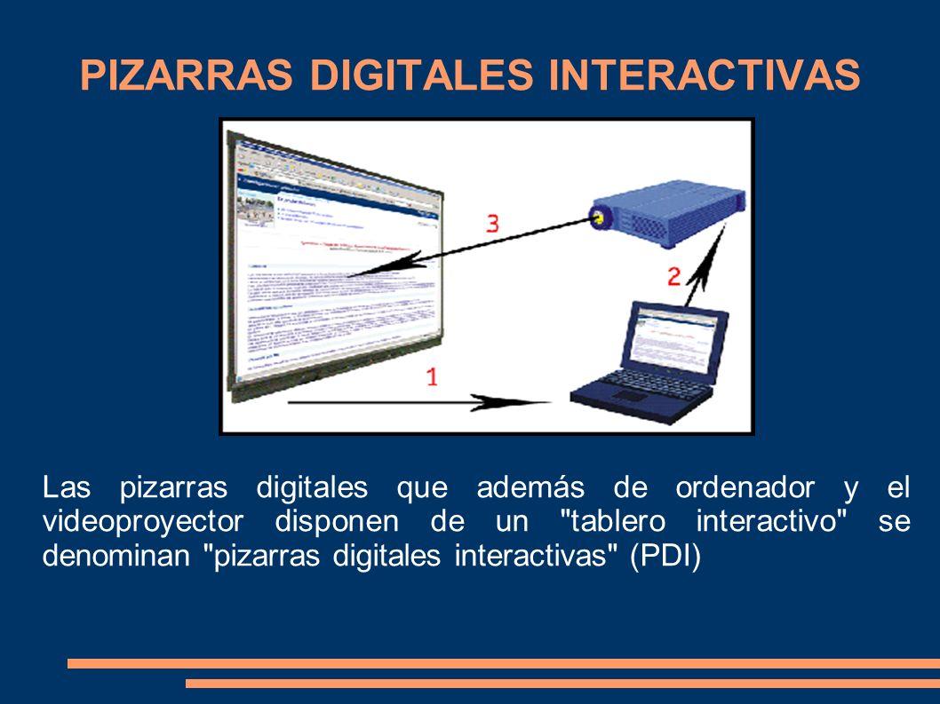 PIZARRAS DIGITALES INTERACTIVAS Las pizarras digitales que además de ordenador y el videoproyector disponen de un