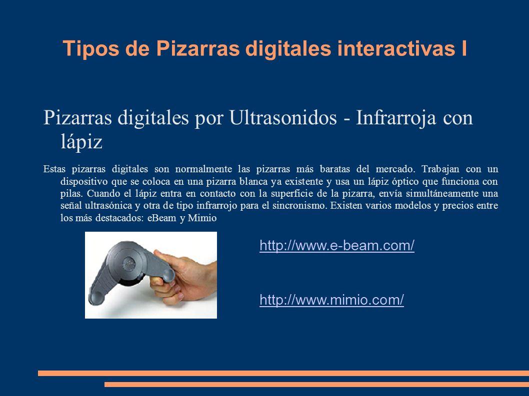 Tipos de Pizarras digitales interactivas I Pizarras digitales por Ultrasonidos - Infrarroja con lápiz Estas pizarras digitales son normalmente las piz