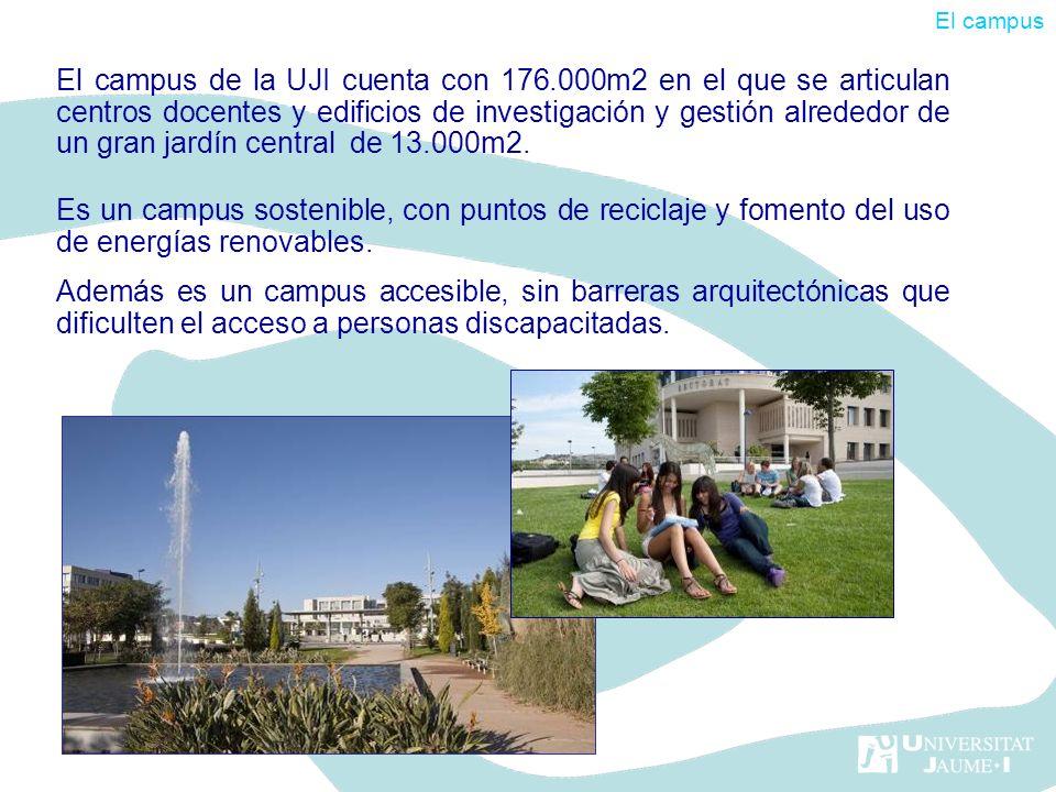 El campus de la UJI cuenta con 176.000m2 en el que se articulan centros docentes y edificios de investigación y gestión alrededor de un gran jardín ce