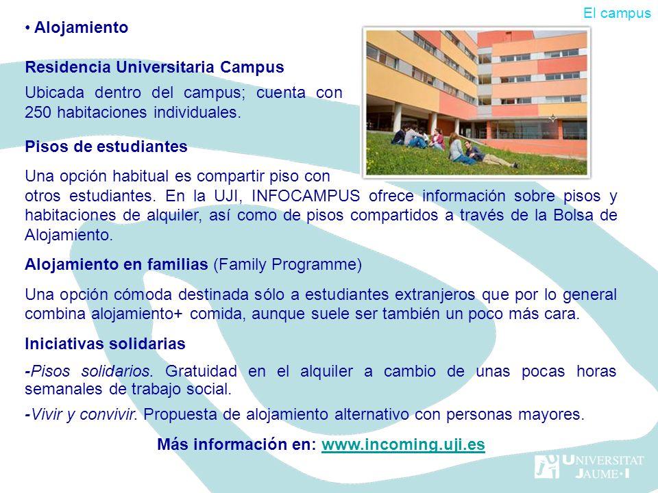 Pisos de estudiantes Una opción habitual es compartir piso con otros estudiantes. En la UJI, INFOCAMPUS ofrece información sobre pisos y habitaciones