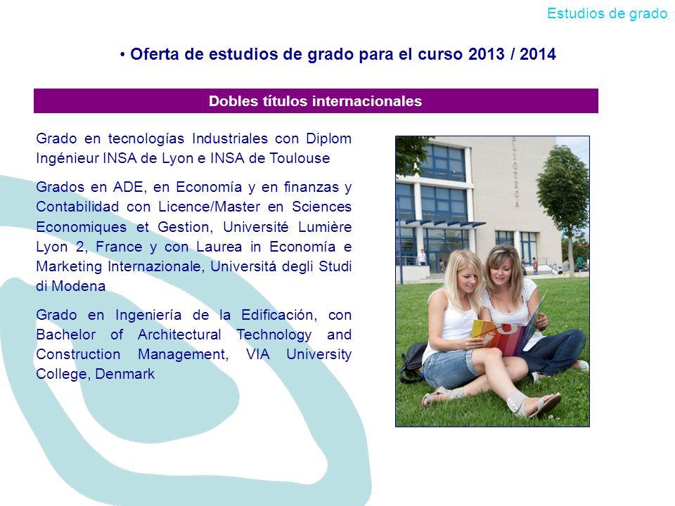 Oferta de estudios de grado para el curso 2013 / 2014 Estudios de grado Dobles títulos internacionales Grado en tecnologías Industriales con Diplom In