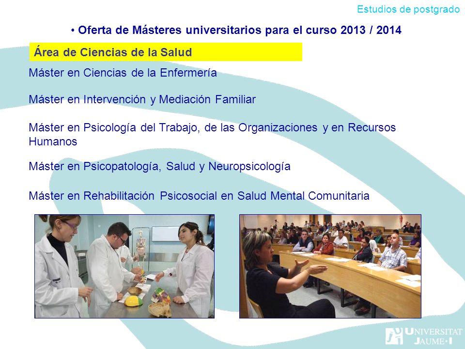 Máster en Ciencias de la Enfermería Máster en Intervención y Mediación Familiar Máster en Psicología del Trabajo, de las Organizaciones y en Recursos