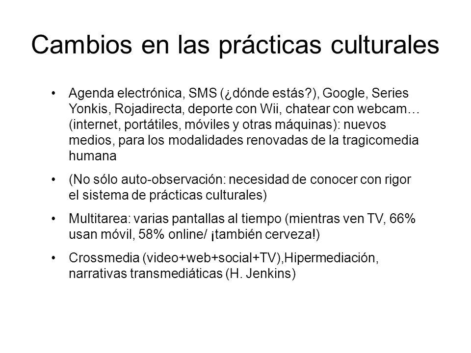 Cambios en las prácticas culturales Agenda electrónica, SMS (¿dónde estás?), Google, Series Yonkis, Rojadirecta, deporte con Wii, chatear con webcam…