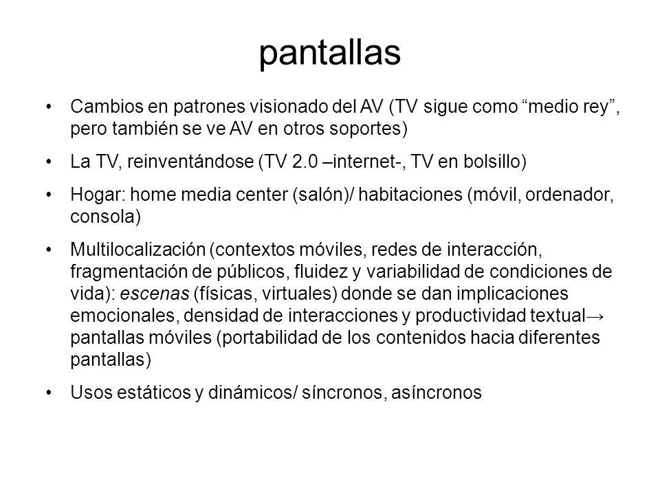 pantallas Cambios en patrones visionado del AV (TV sigue como medio rey, pero también se ve AV en otros soportes) La TV, reinventándose (TV 2.0 –internet-, TV en bolsillo) Hogar: home media center (salón)/ habitaciones (móvil, ordenador, consola) Multilocalización (contextos móviles, redes de interacción, fragmentación de públicos, fluidez y variabilidad de condiciones de vida): escenas (físicas, virtuales) donde se dan implicaciones emocionales, densidad de interacciones y productividad textual pantallas móviles (portabilidad de los contenidos hacia diferentes pantallas) Usos estáticos y dinámicos/ síncronos, asíncronos